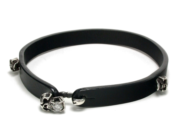 SKULL with WINGS Genuine Cowhide Leather Choker with Silver Pleted Skull Choker for Women Leather Choker